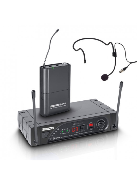 LD SYSTEMS ECO 16 BPH B 6 WIRELESS MICROPHONE SYSTEM WITH BELT PACK AND HEADSET 16 CHANNEL BAND 5 5