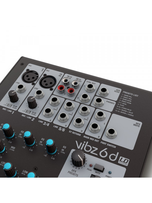 LD SYSTEMS VIBZ 6D - MIXER 6-CHANNEL WITH DFX