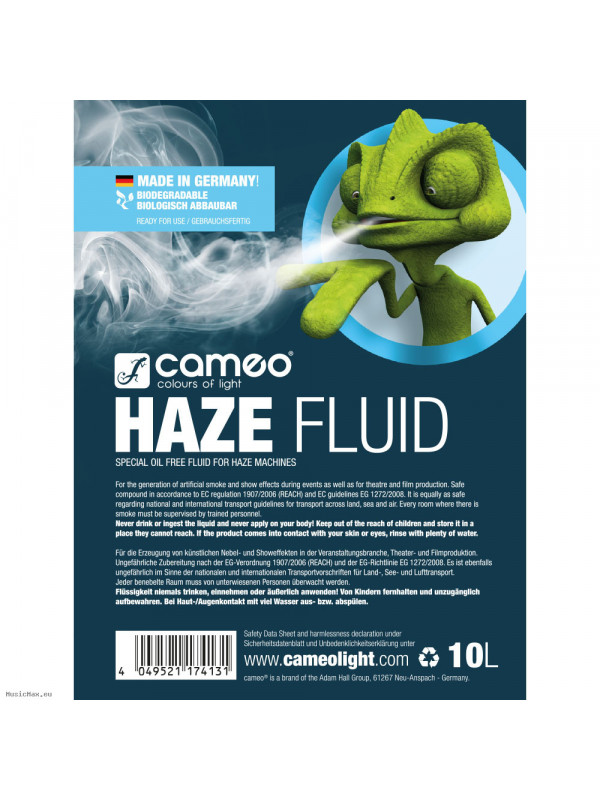 CAMEO HAZE FLUID 10L HAZE FLUID FOR FINE FOG DENSITY AND LONG STANDING TIME, 10