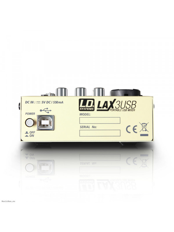 LD SYSTEMS LAX 3 USB 3-CHANNEL USB MIXER - PHANTOM POWER