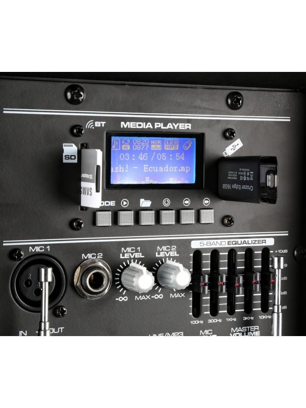 VONYX AP1200PA ATIVNI ZVOČNIK 600W, 2 PRENOSNA MIKR. IN BT USB PREDVAJALNIK