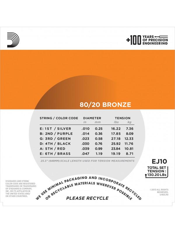 DADDARIO EJ10 80/20 BRONZE STRUNE ZA AKUSTIČNO KITARO 10-47